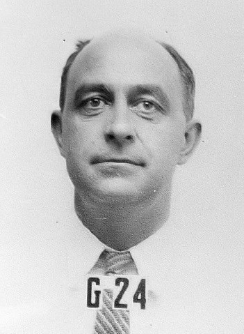 Fermi's ID badge photo from Los Alamos